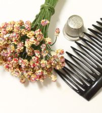 Bunch of 50 Beige/ Pink Textured 4mm Flower making Peps